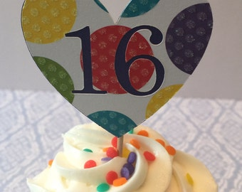 Any Number!! 12 Cupcake Toppers (16th)