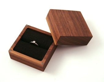 Walnut wood Ring box. Ascetic design ring box.