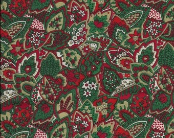 """New Red, White, and Green Christmas Leaves 100% Cotton Fabric 22"""" x 19"""" Piece"""