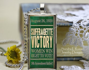 Feminist Jewelry, suffragette Victory Necklace, Suffrage Movement, Women's Right to vote, Political jewelry, Historical Events