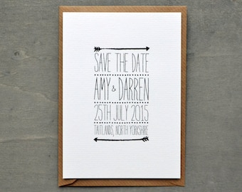 PRINTABLE Save the Date PDF - Personalised Arrow Black & White Wedding DIY Save the Date - Digital Download Only
