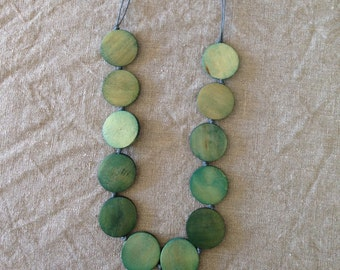 Long Green Disc Bead Necklace