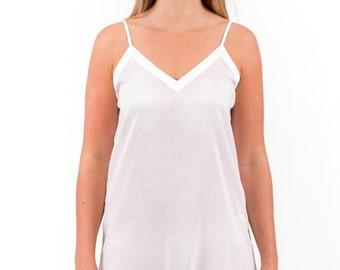 """Spirituelle """"Ami"""" 100% Cotton Dress Slip - White Straight Cut XS - 3XL"""