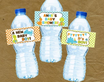 DINOSAUR Baby Shower Party Water Bottle Wraps -