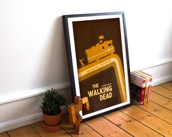 Walking Dead Poster - Minimalist Retro Style Wall Art - The RV - Zombies  (Available In Many Sizes)