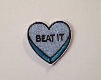 """Blue """"Beat It"""" Heart Iron on Patch"""