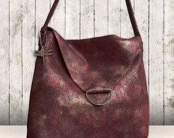 NEW Ladies mystic merlot leather bag, Adjustable shoulder Bag Lined Leather Bag luxe leather bag Leather Purse gold silver dusted merlot bag