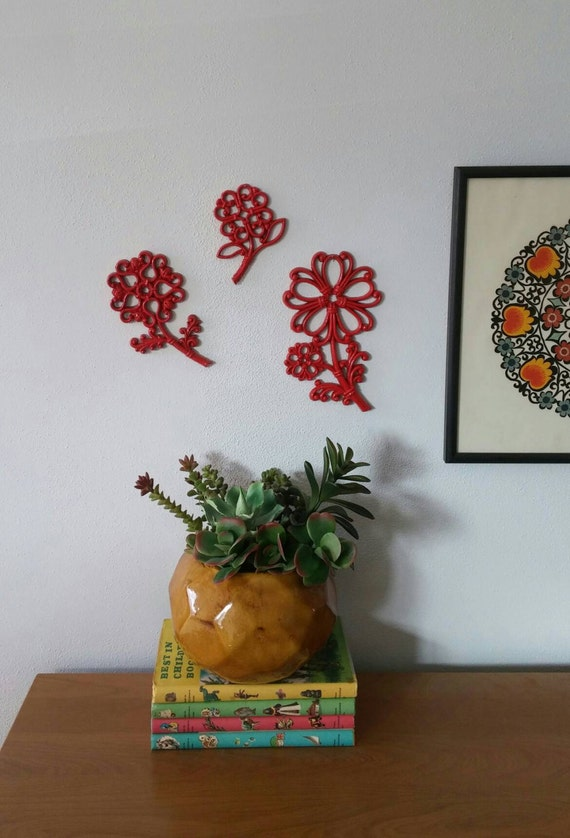 Vintage Homco Flower Set Scroll Pattern Upcycled Wall Decor