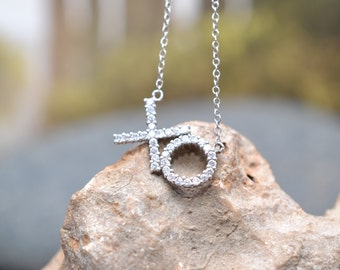 "Sterling Silver and Clear Stone ""XO"" Hugs and Kisses Necklace"