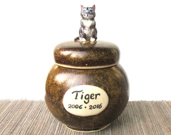 Cat Urn, Hand Made Pottery Pet Cremation Urn, Custom Pet Urn, Small Urn, Custom Text and Artwork, Miniature Animal, Ceramic Personalized Urn