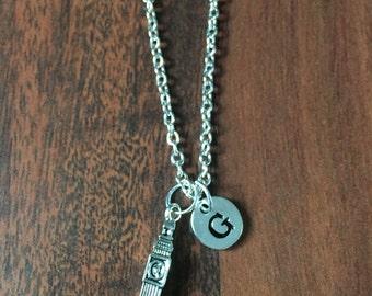 Big Ben initial necklace - London necklace, travel jewelry, Big Ben jewelry, Europe necklace, gift for traveler, silver Big Ben necklace