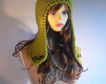 Black Friday Sale, Womens Knit Hats, Festival Hat, Trapper Hat, Aviator Hat, Ear Flap Hat, Winter Accessories, Hand Knit Hat, Green Knit Hat