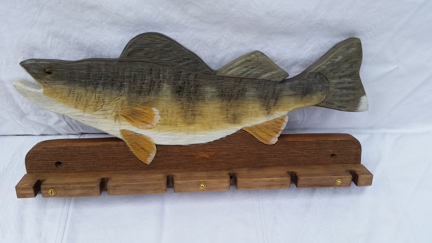 Walleye fishing rod holder by woodndecoys on etsy for Walleye fishing pole