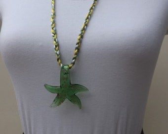 Starfish pendant, glass starfish, plaited pendant, sea necklace, green starfish, colourful pendant, chunky pendant