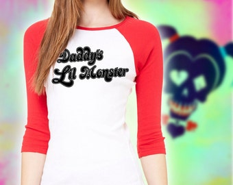 Harley Quinn Shirt - Daddy's Lil Monster shirt - Harley Quinn Costume shirt - womens and unisex styles available