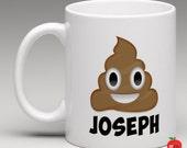 Personalized Poop Emoji Coffee Mug // Personalized Hot Cocoa Mug // Poop Coffee Cup // Poop Coffee Mug // CM100
