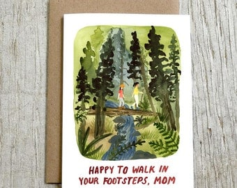 Happy To Walk In Your Footsteps Mom, Mother's Day Watercolor Card by Little Truths Studio