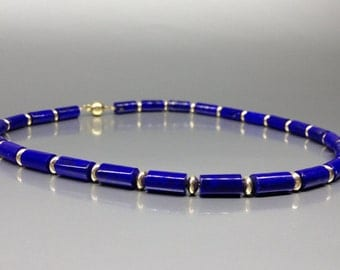 Lapis Lazuli necklace with 14K gold - natural genuine Lapis Lazuli - royal blue and gold necklace - Statement necklace - gift Christmas