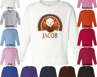 Thanksgiving Turkey - Personalized with Name - Long Sleeve T-Shirt - Boys/Girls - Toddler