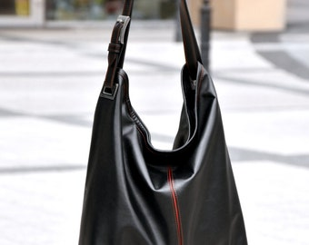 Black Leather Bag - HOLA HOLA - Top Zip Medium Size Black Hobo Bag