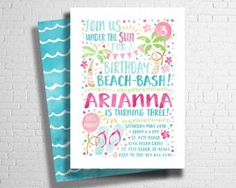Beach Birthday invitation | Beach Bash Invite | Pool Party Invitation | Summer Birthday Invite | DIGITAL FILE ONLY