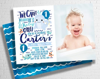 Whale Birthday Invitation | Under Sea Birthday Invitation | Ocean Birthday Invite | Splash Party| Pool Party | DIGITAL FILE ONLY