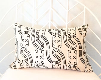 10x16 Down Lumbar Pillow - Mudcloth (INSERT INCLUDED!)