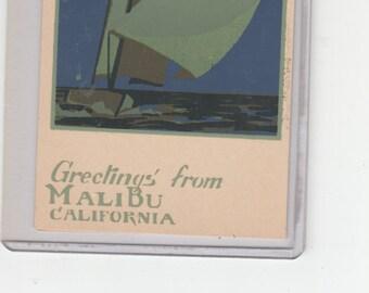 Silkscreen Serigraph Dubosclard/Sheehan Postcard Greetings From Malibu Night Sailing