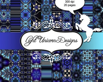 Blue Jewels Digital Scrapbook Printable Paper