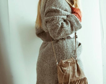 Boho shuede leather/Elephant grey leather/black leather/crossbody bag/fringe