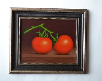 Original 8x10' acrylic realistic still life painting, red tomato painting, kitchen painting, food painting, kitchen art, food art, miniature