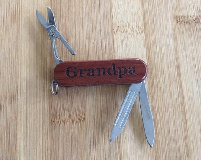 Grandpa Laser Engraved Rosewood Pocket Knife Tool