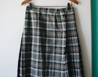 Vintage green, grey & red plaid skirt, size S