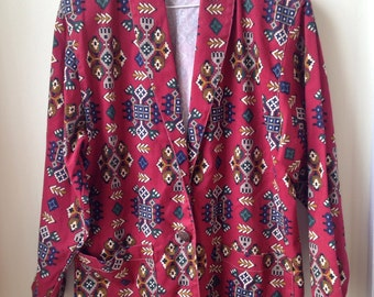 CLEARANCE JACKET 90s oversized vintage abstract tribal print Blazer With single button closure  size Large