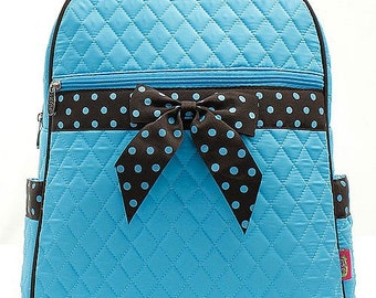 Turquoise Blue and Brown Quilted Monogrammed Backpack