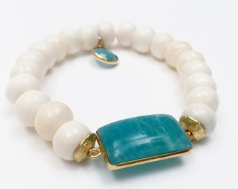 Amazonite and bone bracelet