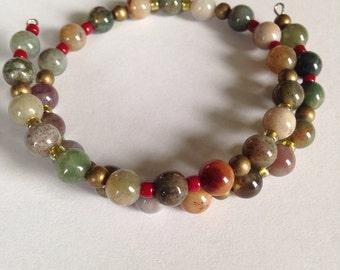 Fancy Jasper Gemstone Memory Wire Bracelet