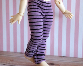 Purple and black stripe leggings for Littlefee or YoSD BJDs