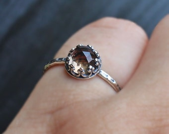 Smoky Quartz Silver Ring, simple 925 ring, brown gem ring, adjustable silver ring, quartz jewelry, rustic ring, simple solitaire ring, cute