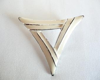 Vintage Ivory Cream Enamel Stylized Triangle Brooch Pin