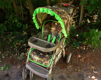 Camo Stroller Cover - Universal Fit for Baby Trend/Graco - Max 4 fabric and Lime Green Minky
