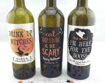 Halloween Wine Labels, Eat, Drink and Be Scary, Halloween Party Decorations, Halloween Party Ideas, Drink Up Witches, I'm Here for the Boos