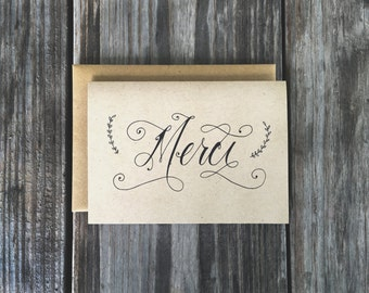 Merci Thank You Cards, French Thank You Cards, Wedding Thank You Cards