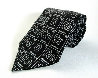 Periodic Table Necktie Black White Science Periodic Table of the Elements Chemistry Teacher Gift Boyfriend Father Novelty Professor Tie