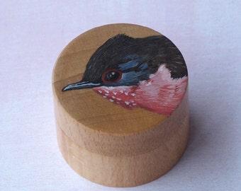 bird ring box, DARTFORD WARBLER ring box, bird cufflink box, bird jewelry box, bird trinket box, hand painted ring box, wooden ring box