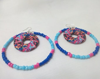 Handmade Fashionable Multi-color Ribbon, Fuchsia/Royal Blue and light Blue Glass Beads earrings