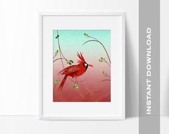Red Cardinal, Bird Art Print, 8x10 Digital File, Instant Download