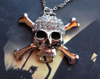 Rhinestone Skull Pendant/Necklace, Skull Necklace, Halloween Jewelry, Halloween Pendant, Halloween Jewelry