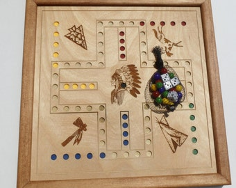 Wahoo game - Native American images - wooden board game - Mahogany Stained trim