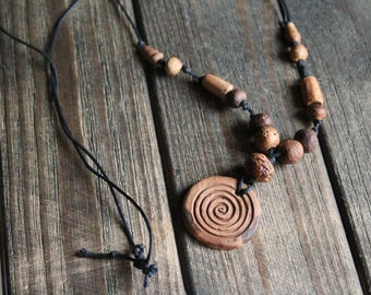 Handmade Best gift for mi friend Modern gift vortex necklace rustic ceramic pendant gift for men gift for him